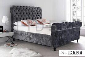 Storage Bed Frame Single Double King Velvet Chenille Fabric