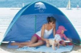 Pop-up play shelter (UPF 50+ ideal for protecting your family from sun/wind/rain).