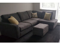 DFS Astaire left arm corner couch with footstool
