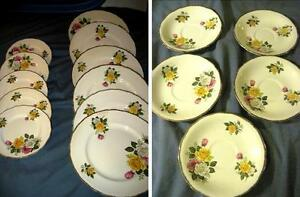 Vintage Royal Swan June Bouquet Staffordshire 22 KT Gold Dishes