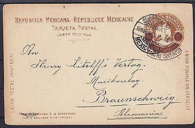 Mexiko 3 P. alte Ganzsache mit privatem Zudruck, gel. nach Braunschweig 1903