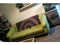 Retro look green sofa leather