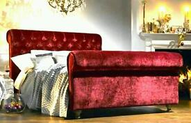 Chesterfield style double bed in velvet/leather/chenille
