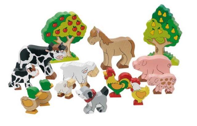 Goki Bauernhoftiere 14 Teile Set Bauernhof-Holz-Tiere  53034 Tiere neu
