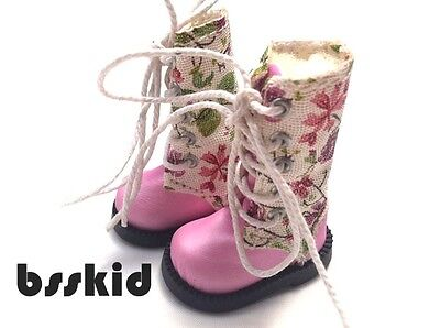NEW Blythe Pullip Momoko 1/6 Doll PINK Shoes Boots Floral Flower on Rummage