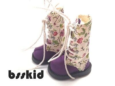 NEW Blythe Pullip Momoko 1/6 Doll PURPLE Shoes Boots Floral Flower on Rummage