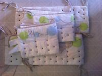 breathable crib bumper, sheets and bed skirt