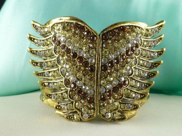 Rhinestone Wings Fashion Bracelet Gold Tone Hinged Clamper Bangle