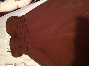 Sweat heart neck line brown dress