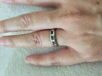 14k White Gold Band with Sapphires and Diamonds