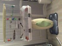Cage pour couple d'oiseaux avec accessoires