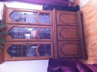 CHINA CABINET AND TABLE AND  CHAIRS