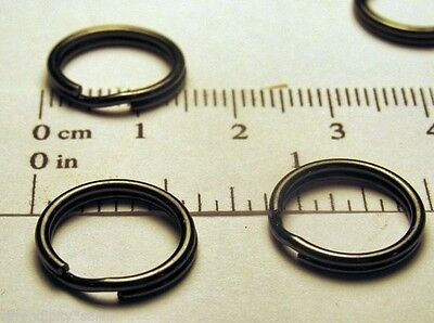 "4 Key Rings 15mm Approx 5/8"" Split Ring Gun Metal Black Finish Steel Findings"