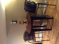 Solid wood pub table and 2 stool/chairs