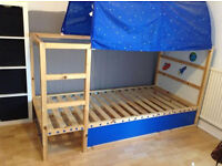 Still available - IKEA Bed Tent for KURA Reversible Bed. Blue & white stars - mint condition!