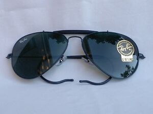 d882d64ed2 New Ray Ban Sunglasses AVIATOR OUTDOORSMAN Black RB 3030 L9500 G-15 Glass  Lens