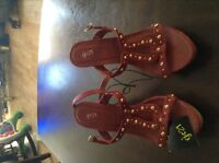 Red wedge heel sandal style shoe,brand new,never worn
