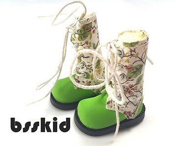 NEW Blythe Pullip Momoko 1/6 Doll GREEN Shoes Boots Floral Flower on Rummage
