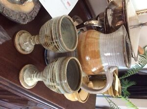 Large Ceramic Jug with 2 Matching Goblets