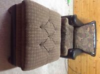 Leather/Fabric Chair with large ottoman