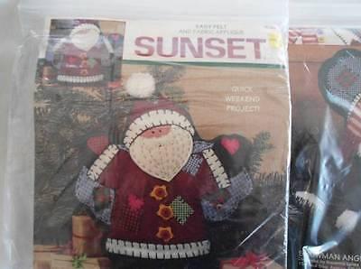 Vintage Pair Sunset Felt Applique Pillow Embroidery Kit Santa Snowman