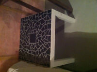 White IKEA Table with black tile top