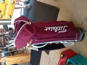 Titleist golf bag with cover and Campbell clubs with push cart Belleville Belleville Area image 2