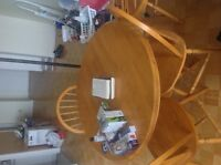 Round wood table /// Dining set  // School table