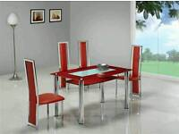 Large red glass chrome dining table and 4 chairs