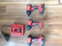 3 hilti impact drivers 2 battery's and charger