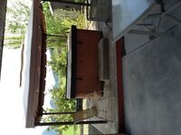 Beautifully 8ft by8.ft hot tub with canopy and cedar deck