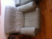 Grey leather couch with 2 matching chairs