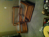 4 Oak Inlaid Glass Top Tables