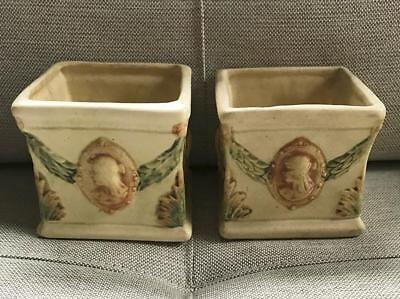 Pair Of Weller Roma Cameo Kenova Square Planters Lovely Pastel Colors Die Stamp - $74.95