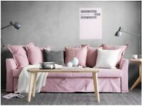 Three-seat sofa-bed HOLMSUND Colour: Ransta light pink