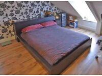 King size bed + mattress + storage headboard (ikea malm)