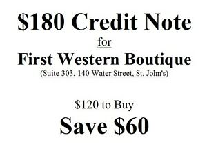$180 Credit Note for First Western Boutique