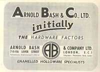 1953 Arnold Bash Lever Street London Hardware Factors Ad -  - ebay.co.uk