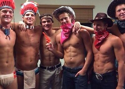Shirtless Male Frat Boy Jocks Cowboy Indian Costume Party Dude PHOTO 4X6 C452 - Cowboy Boy Costume