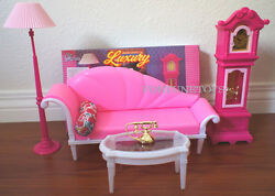 *NEW GLORIA DOLL HOUSE FURNITURE SIZE Luxury / Floor Clock  LAMP SET FOR BARBIE