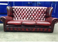SALE 50% off IMMACULATE 3 seater superior chesterfield wingback oxblood Bordeaux leather sofa