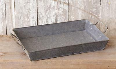 New French Country Farmhouse Chic Shabby GALVANIZED TRAY Basket Metal Handles