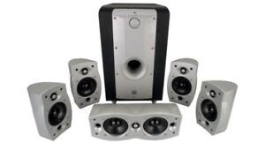Athena Micra-6 6-Piece Home Theater Speaker System, Silver/Black