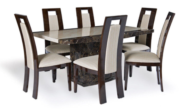 EXTRA LARGE 220cm Tenore Marble Dining Table Six Mondrain Chairs Nottingham