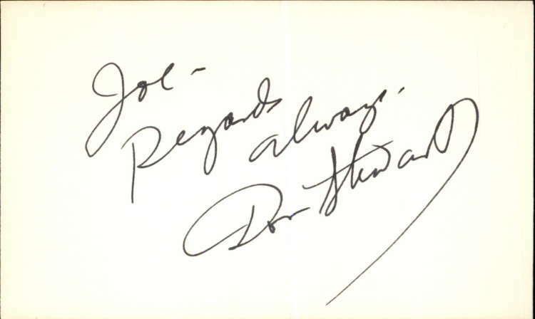 "DON STEWART d. 2006 GUIDING LIGHT Signed 3""x5"" Index Card"