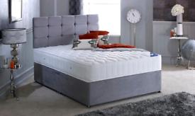 Fabric Divan Bedframes with Mattress, Drawers & 24 inch Headboard