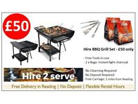 BBQ Grill set to hire. Large Barbecue with Instant Light Charcoal & Free Tools. No deposit, Free Del