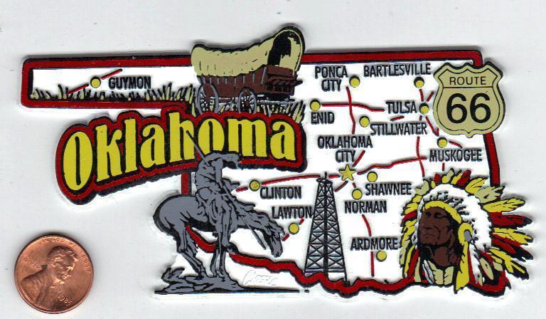 OKLAHOMA  JUMBO  STATE  MAP  MAGNET 7 COLOR  ROUTE 66  OKLAHOMA CITY  TULSA