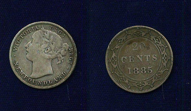 CANADA NEWFOUNDLAND VICTORIA  1885  20 CENTS SILVER COIN, CIRCULATED