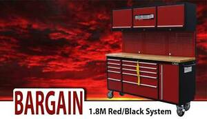Red and black Rolling 1.8m Tool Chest workbench combo Tool Box Lidcombe Auburn Area Preview